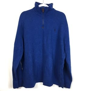 Polo Ralph Lauren Blue Cotton 1/4 Zip Sweater XL